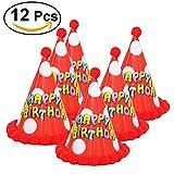 TOYMYTOY Compleanno festa cono Cappelli con pon pon per bambini 12pcs (lettera colorato rosso)