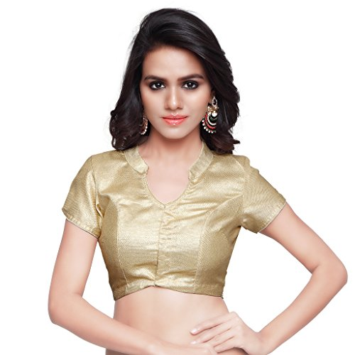 MirchiFashion Frauen Gold Art Seide Readymade Partywear Saree Bluse Mirchi Fashion Women Top (Gelbe Seiden-bluse)