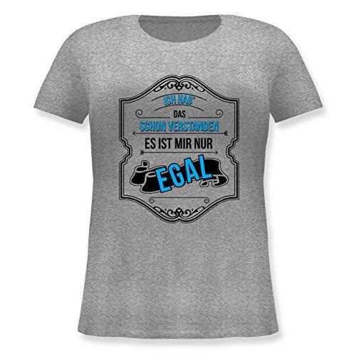 Statement Shirts - Ich HAB Das Schon Verstanden ist Mir Nur Egal - Lockeres Damen-Shirt in Großen Größen mit Rundhalsausschnitt Grau Meliert