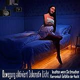 Emotionlite Bewegungs Aktiviert Bettlicht Bewegungssensor Nachtlicht Automatisches Abschalten Flexibler LED Streifen Dekor Lichtsatz 1600 K Ultra Warmesweisses Weiches Glühen (Unter dem Bett Schrank Flur Hintergrundlicht für Dunkle Ecken) (Doppelt Streifen)