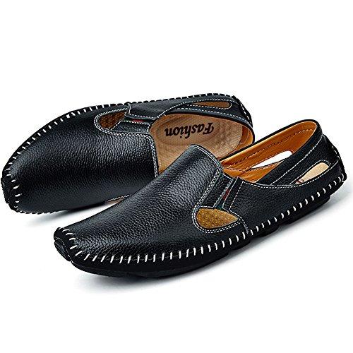 Herren Leder Business Loafers Mokassins Slip on Flach Driving Schuhe Schwarz