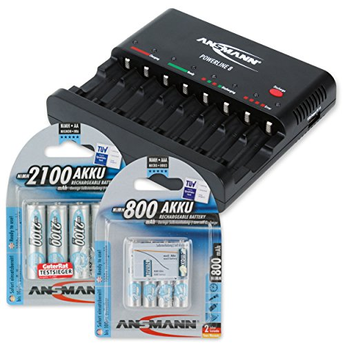 ANSMANN DAS STARTER SET: Powerline 8 Akku-Ladegerät Testsieger (Vergleich.org 08/2015) mit Entladefunktion