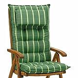 4 Luxus Auflagen für Hochlehner 9 cm dick mit Kopfkissen Miami 20426-200 (ohne Stuhl)