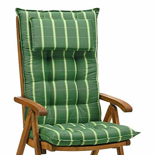 2 Luxus Auflagen für Hochlehner 9 cm dick mit Kopfkissen Miami 20426-200 (ohne Stuhl)
