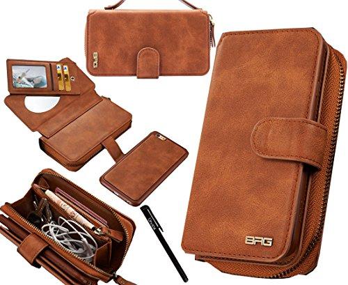 urvoix iPhone 6/iPhone 6S Schutzhülle, Premium Leder Reißverschluss Wallet Multifunktionale Handtasche abnehmbarer Magnetic Schutzhülle mit Flip Card Holder Cover für iPhone 6/6S (11,9cm) (Leder Card Wallet Flap)
