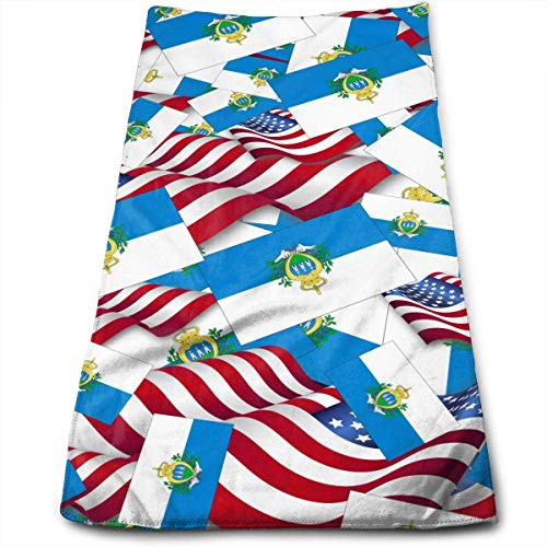 San Marino Golf (Uosliks San Marino Flag with America Flag Face Hand Towels Sweat Absorbend Perfect for Hot Yoga,Home,Business Professional Grade 27.5 X 12 Inch.)