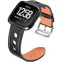 Minfex Fitbit Versa Premium Leder Armband, Ersatz Uhrenarmband Fitness Armbänder mit Metallrahmenfur Fitbit Versa Smartwatch für Damen Herren