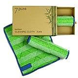 7.PURE Bambus Putzlappen & Putztücher | 3 Stück | 20 x 25 cm | ohne Putzmittel | Reinigen ohne Fusseln | Waschbar | Putzschwamm, Tücher
