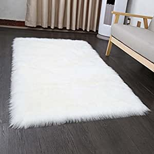 faux fur sheepskin style rug 50 x 150 cm faux fleece fluffy area rugs anti skid yoga carpet for. Black Bedroom Furniture Sets. Home Design Ideas