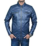 #5: Zacharias Men's Pu Faux Leather Jacket(Zachmen-Leather-Jacket-Blue_Blue_Free Size)