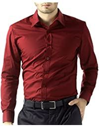 52add1966c14 BEING FAB Men s Solid 100% Cotton Regular Fit Casual Maroon Shirt