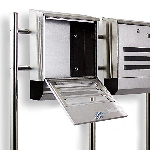 Postkasten Edelstahl Design Doppelstandbriefkasten Zeitungfach Briefkastenanlage Briefkasten Mailbox Eckig mit integireter Zeitungsrolle - 2