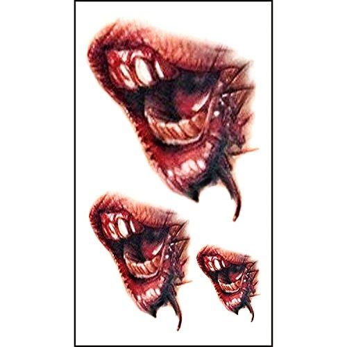 ProMu-Tattoo Sticker 10 x Temporäre Tattoos, Halloween Zombie Scars Tattoos Aufkleber mit Fake Scab Blood Special Fx Körper Make-up Requisiten