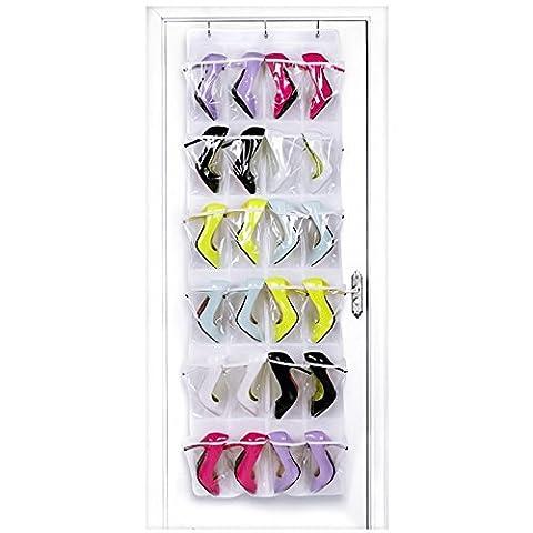 Lifebee Rangement des Chaussures / Etagère de Rangement à 24 Poches Suspendue pour Chaussures Vêtements
