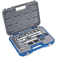 """Alyco 192384 - Juego 48 piezas llaves de vaso 1/2"""" + carraca extensible + adaptadores + puntas en maletin plastico"""