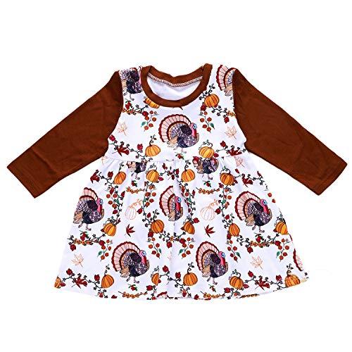 Anywow Baby Mädchen Kürbis Kleid Säuglings Kleinkind Langarm Türkei Erntedank Festival Party Kleid