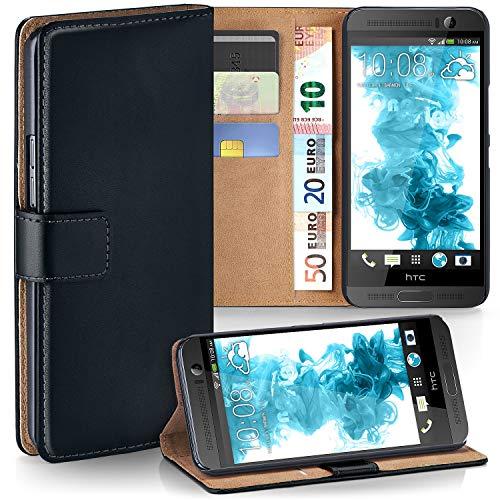 moex HTC One E8 | Hülle Schwarz mit Karten-Fach 360° Book Klapp-Hülle Handytasche Kunst-Leder Handyhülle für HTC One E8 Case Flip Cover Schutzhülle Tasche