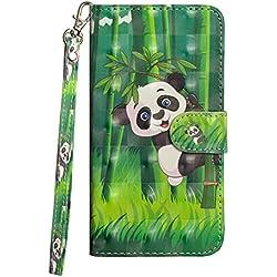 Sunrive Coque pour One Plus 3/One Plus 3T, Housse Mignon Étui avec Fonction de Support Etui Protecteur Protection Portefeuille Cas Magnétique PU Cuir(Panda 2)+Stylet OFFERTS