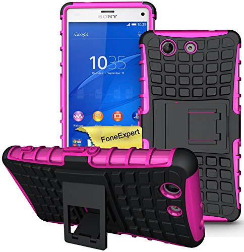 Xperia Z3 Compact Handy Tasche, FoneExpert® Hülle Abdeckung Cover schutzhülle Tough Strong Rugged Shock Proof Heavy Duty Case für Sony Xperia Z3 Compact + Displayschutzfolie (Rosa)