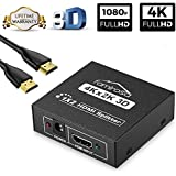 HDMI Splitter 4K Divisor 1 Entrada 2 Salidas HDMI Distribuidor / Separador Audio 3D Full HD 1080P 1x2 Hdmi Splitter Box con 6 FT HDMI Cable Para HDTV, PC,Blu-Ray,DVD,DVR,PS4,PS3,Xbox etc.