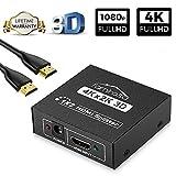 HDMI Splitter 1 In 2 Out, Famirosa 4k Hdmi Verteiler 1 auf 2 Out HDR Gleichzeitig Automatisch, mit 2.7 m Hdmi Kabel