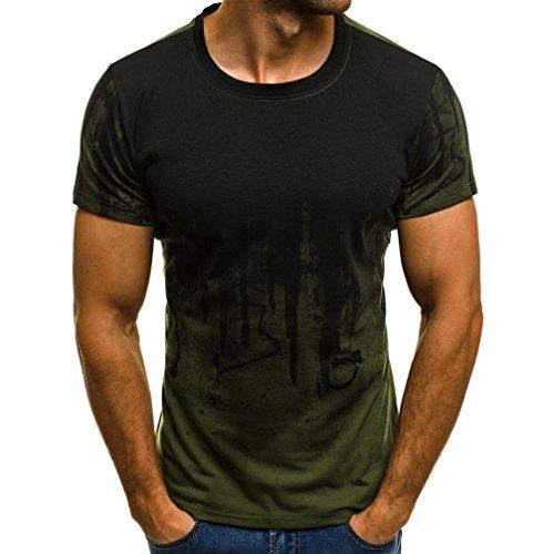 LuckyGirls Shirts Herren Sommer T-Shirts Plus Size Männer Drucken Slim Fit Hemden Kurzarm T-Shirt Bluse M-3XL (Armeegrün, M) -