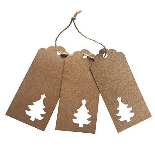 nger mit 10m langem Juteschnur, Vintage, Papier, für Weihnachten/ Kartonetiketten/ Hochzeitsgeschenke/ Geburtstagsgeschenke/ Lesezeichen, 100 Stück, braun, Hollowed Christmas Tree Tags (Weihnachts-lesezeichen)