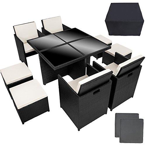 TecTake Conjunto muebles de jardín en aluminio y ratán sintético comedor juego 4+4+1 + funda completa + set de fundas intercambiables | tornillos de acero inoxidable |
