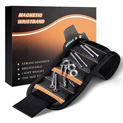 Magnetisches Armband, Best Magnetische Armbänder mit 15 kraftvollen Magneten, Magnetarmband Werkzeug zum Halten von Werkzeug, Schrauben, Bohrer und Nägel, Werkzeug Geschenk für Männer
