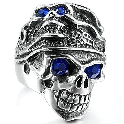Aooaz Stainless Steel Ring For Men Silver Black Skull Head Blue CZ Mens Band Punk Vintage Biker Retro P