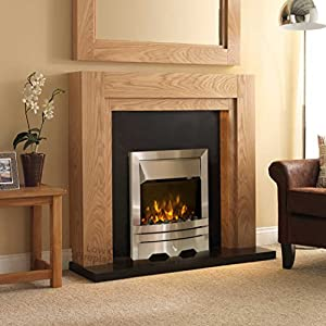 Electric Oak Wood Surround Black Back Panel Hearth Modern Silver Steel 2kW LED Fire Freestanding Fireplace Suite