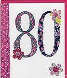 Pigment Productions Originelle Grusskarte zum 80. Geburtstag - veredelt durch Prägung und Glitter mit farbigem Umschlag im Format 16x18cm Innendruck