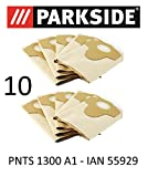 10 Parkside Staubsaugerbeutel 20 L PNTS 1300 A1 Lidl IAN 55929 braun 906-05 - Parkside Nass Trocken Sauger