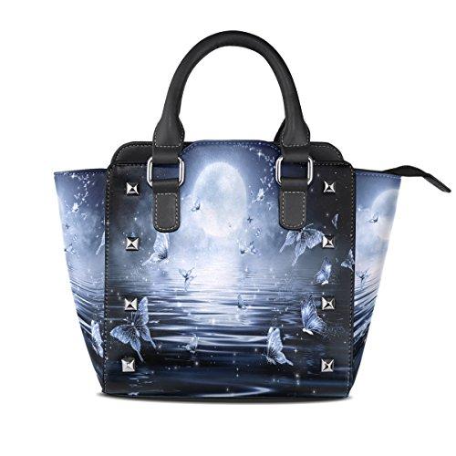 LIANCHENYI Dazzling Schmetterlinge Dance Under Moonlight PU Leder Top Griff Handtaschen Single-Shoulder Tote Crossbody Bag Bag für Frauen -