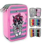 Starplast, Plumier-Schultasche, drei Reißverschlüsse, Kinder-Design, 20 cm x 6 cm x 13 cm, zum Speichern von Farben, Regeln und Material, Design Hundebrille