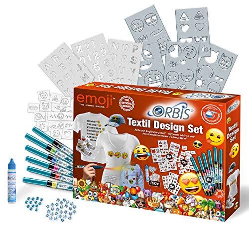 Orbis 30452 Textil Design Set EMOJI, Textilfarbset zum sprühen auf Textilien Airbrush-Zubehör, für Kinder und Allen Anderen Kreativen, farbig