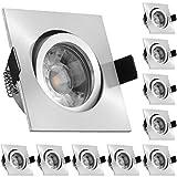 10er LED Einbaustrahler Set Aluminium matt mit COB LED GU10 Markenstrahler von LEDANDO - 5W DIMMBAR - warmweiss - 40° Abstrahlwinkel - schwenkbar - 50W Ersatz - A+ - COB LED Spot 5 Watt - Einbauleuchte LED eckig