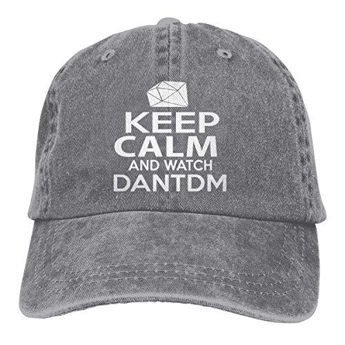 Men Womens Vintage Adjustable Cap Keep Calm and Watch DANTDM Strapback Cap, Black - Stricken Watch Cap