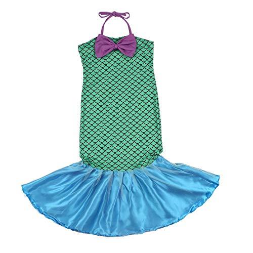 Kleine Meerjungfrau Schwanz Prinzessin Fancy Green Kleider mit Bogen für Halloween Weihnachten Cosplay Kostüm für Mädchen