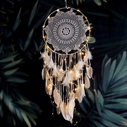 mit Lichtern Handarbeit gehäkelte traditionelle Kunsthandwerk Feder Ornamente Innenwanddekoration Dream Catcher Geschenk (Farbe : Weiß) ()
