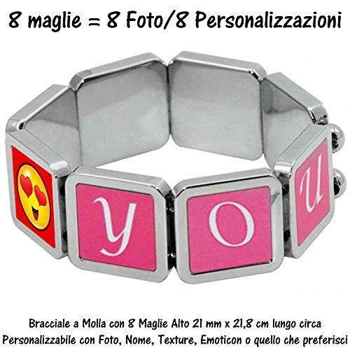Bracciale Braccialetto Molla Elastico 8 Charms Ciondoli