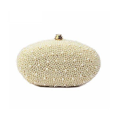 Hochzeitstasche Perlen besetzte Brauttasche Clutch Damentasche zum Brautkleid goldener Verschluss...