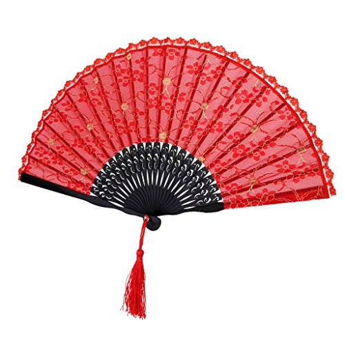 Fenteer Eventail Pliant en Bambou avec Bordure en Dentelle Rétro Style Chinois Décoration Danse Fête - Rouge