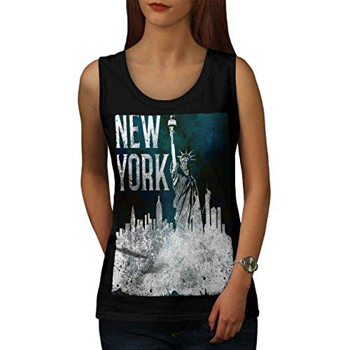 Neu York Stadt Freiheit USA amerikanisch USA Damen S-2XL Muskelshirt | Wellcoda Schwarz