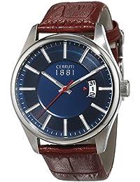 Cerruti 1881 señores-reloj analógico de cuarzo cuero PALINURO CRA127SN03BR