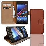 EximMobile Brieftasche Handytasche Flip Case Etui für Sony Xperia Z Ultra Braun