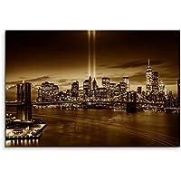 100x 70cm immagine Ponte di Brooklyn, New York seppia Manhattan Hudson River Boat
