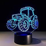 WAOBE 3D Nachtlicht LED Bunte Acryl Traktor Stereo Kreative Vision Geschenk Tischlampe , Touch