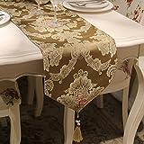 GNOW Tisch-Läufer Europäischen Seide Jacquard Tabelle Flag American Pastoral Luxus Tischdekoration Tuch Löffel Schrankbett Ende Handtuch, Licht Kaffee, 33 * 180 cm.
