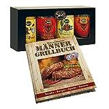 Monsterzeug 2er Geschenkset Männer, Männergrillbuch & Cowboy Grillgewürze Set, BBQ Gewürze 4er Set, Wilder Westen Edition, Grillrezeptbuch, Grillrezepte für Männer